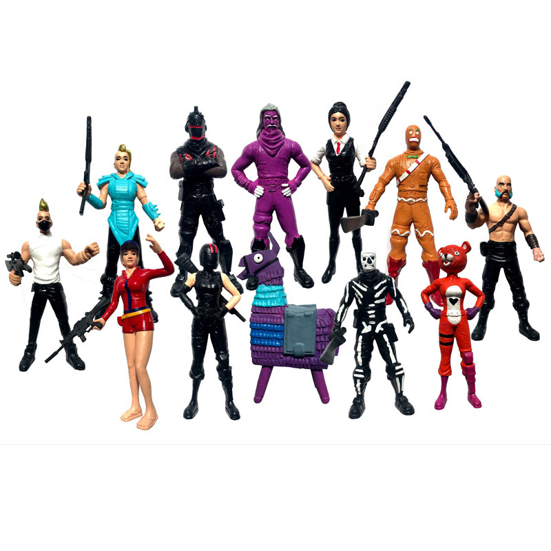 12pcs/set Fortress Night Llama PVC Figures Toy Battle Royale Game Character Fortress Model Doll Toy Christmas Gifts For Kids