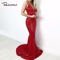 Tobinoone 2018 Summer Dress Sexy Backless Spaghetti Strapless Deep V Neck Sequin Dress Female Silver Party Maxi Long Vestidos