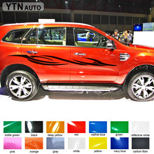 custom car decal 2pc side body personal racing styling protect scratch stripe graphic vinyl sticker  for ford everest 2015