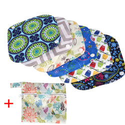6 pçs reutilizáveis almofadas sanitárias + saco molhado lavável almofada menstrual pano forro de calcinha menstruação higiene cuidados saco de almofada sanitária