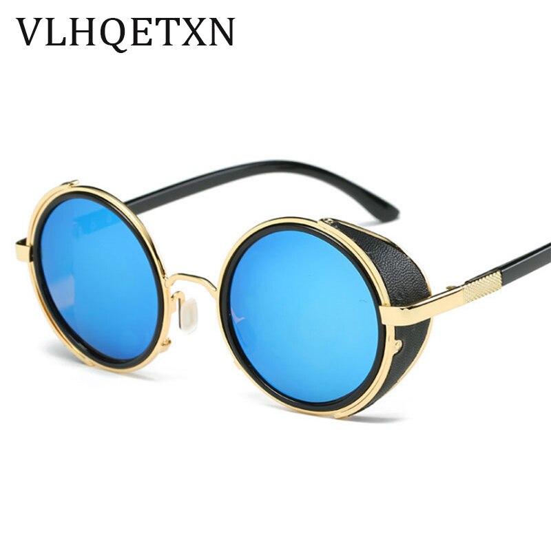 1cfc5a83a8 Steampunk Vintage gafas de sol de diseño lado Visor lente de círculo redondo  gafas de sol de mujer hombres HD Retro Hippie, gafas en De los hombres gafas  de ...