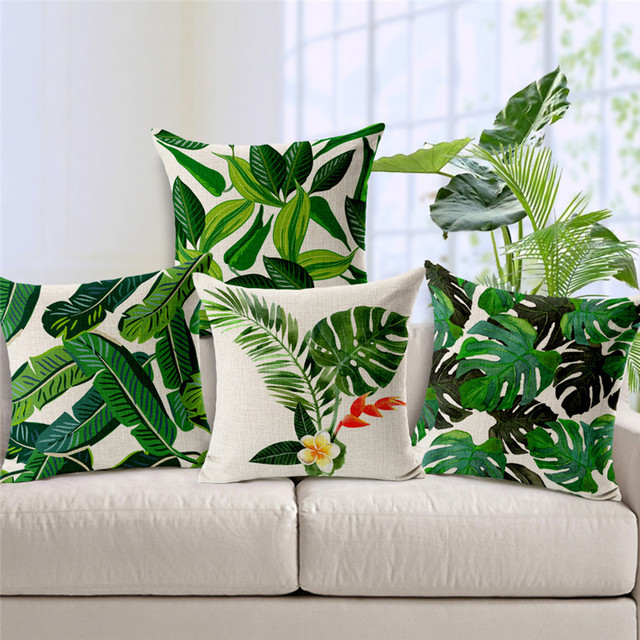 Hot Small Fresh Green Tropical Leafy Plants Cushion Cover Sofa Home Office Decor Car Pillow