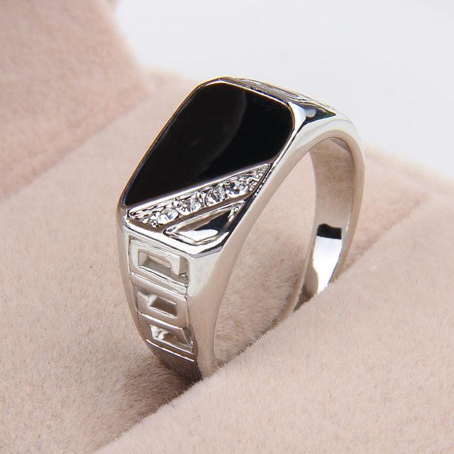fashion black enamel men s zinc alloy square hollow crystal rhinestone rings  US 7 8 9 10 11 one piece xydr189 264c8035ca57