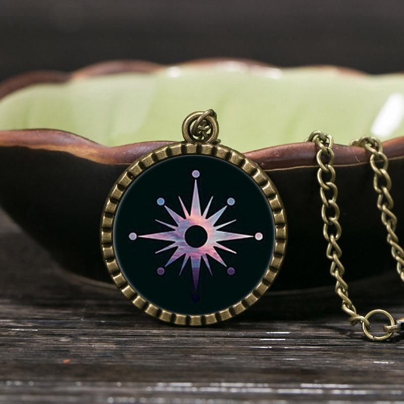 Vintage Bronze Chain Statement Necklaces Women Jewelry Cute Picture Glass Cabochon Pendant Necklaces For Women Black Friday Sale