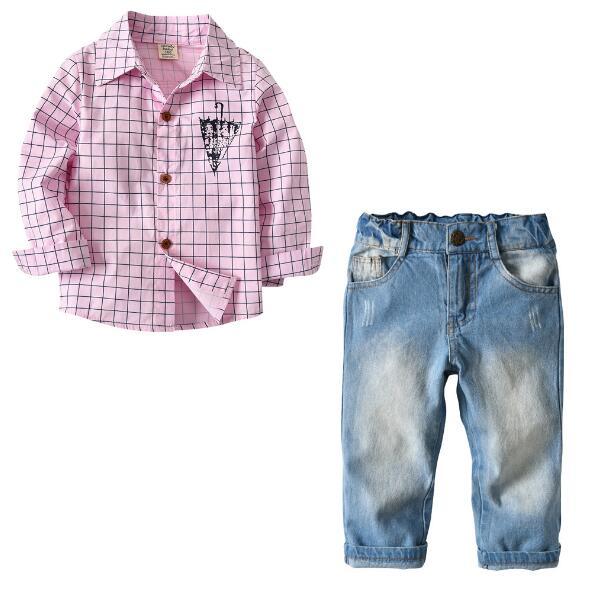Fashion Children's Boy Clothing Boys Clothes Set Long-sleeved Pink Shirt + Jeans Baby Boy Kids Clothes 2-7 Years 2pcs set baby clothes set boy