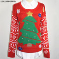 Women Christmas Tree Sweaters New 2017 Winter Ladies Ugly Christmas Sweater With Sequin & Bell Free Shipping