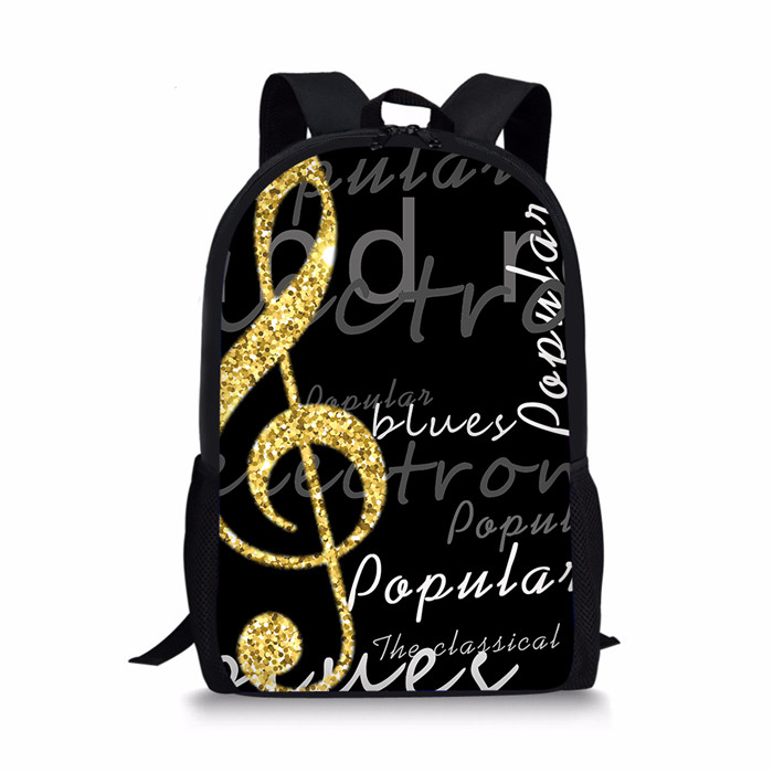 THIKIN Music Notes Printed Backpacks For Girl Children School Bags Black Piano Orthopedic Backpack Kids Satchel Knapsack Mochila