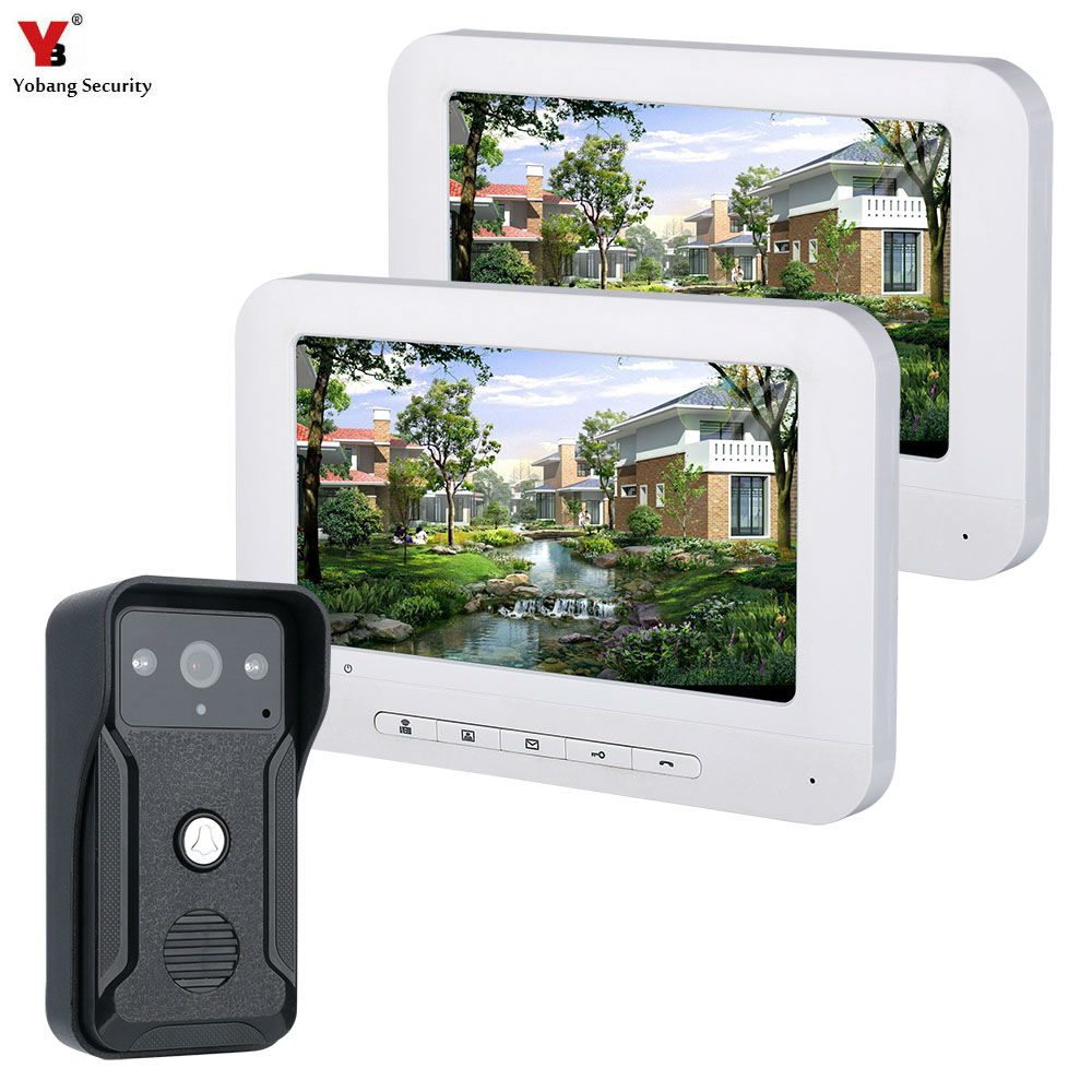 Video Door Intercom 7''Inch Wired Video Door Phone Visual Video Intercom Doorbell Monitor Camera Kit For Home Security