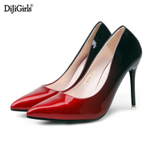 Women shoes gold heels vogue Pointed toe rhinestones stiletto high heels pumps sexy wedding shoes women Silver Pink red 34-40