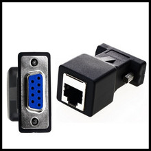New Arrival DB9 RS232 Male/Female to RJ45 Female Adapter COM Port to LAN Ethernet Port Converter