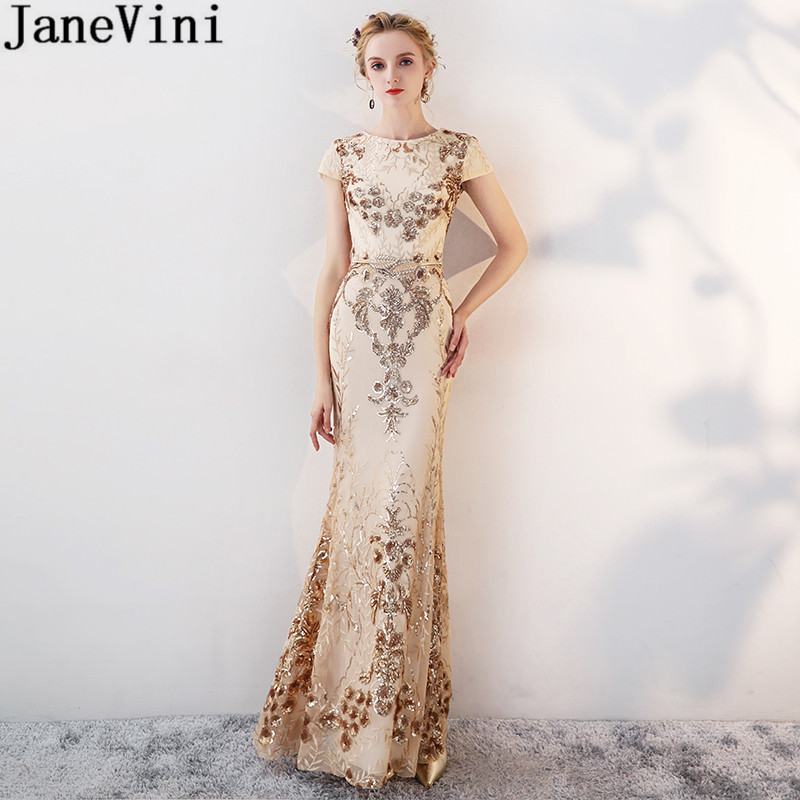 JaneVini Sparkly Gold Bridesmaid Dresses Bling Sequins Mermaid Lace Wedding Party Dresses for Women Vestidos Longos