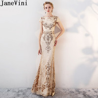 JaneVini Sparkly Gold Bridesmaid Dresses Bling Sequins Mermaid Lace Wedding Party Dresses for Women Vestidos Longos De Festa