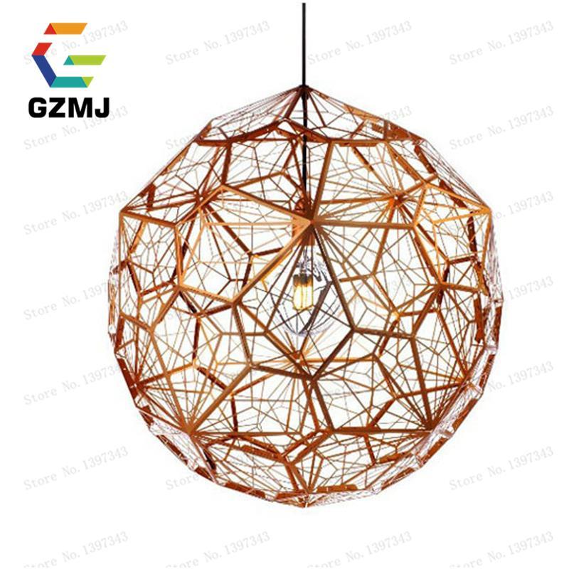 Led nordic copper pendant lights modern pendant lamp for Luminaire suspension metal