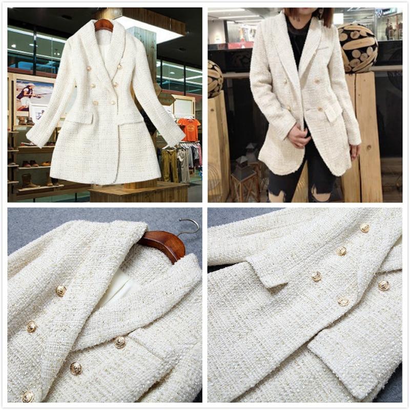 High Quality Runway 2019 Designer Office Women's Jacket Blazer Double Breasted Long Sleeve Tweed Jacket Coat Female Outwear