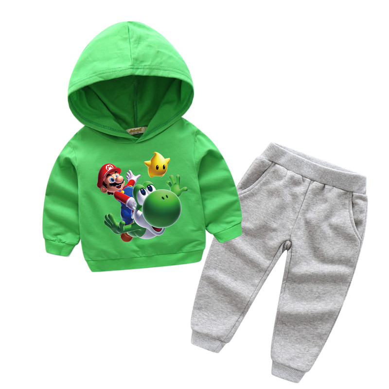 Children New Cartoon Mario Print Hooded Clothes Sets Boy Girls Sport Suits For Kids Clothing Baby 100%Cotton Tracksuits TZ006
