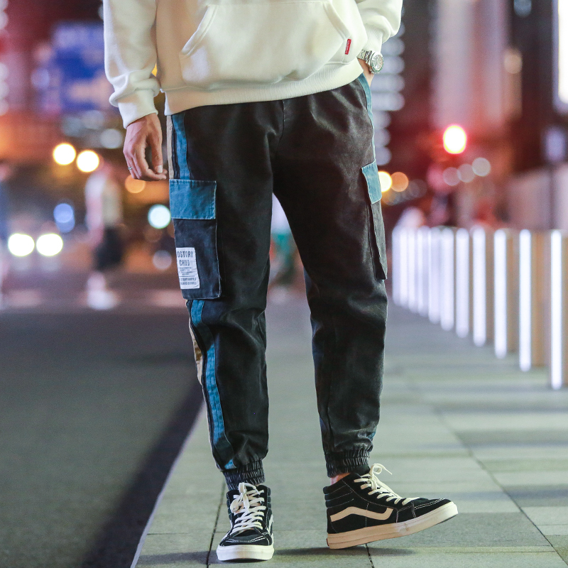 Zogaa Side Striped Cargo Pants Men 2019 Mens Patchwork Black Joggers Pants Man Hiphop Trousers Fashion Casual Sweatpants Fashion
