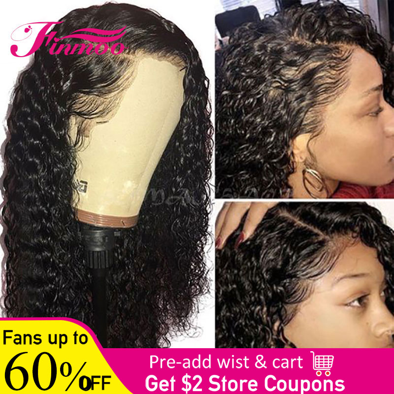 Finmoo 180% Density 360 Lace Frontal Wig Pre Plucked With Baby Hair Brazilian Remy Curly Lace Front Human Hair Wigs For Women(China)