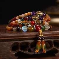 108 Pcs Oração Talão Mala Pulseira/Colar Colorido Natural de Cristal de Quartzo Beads Budista Pulseira Colar para Mulheres Meninas