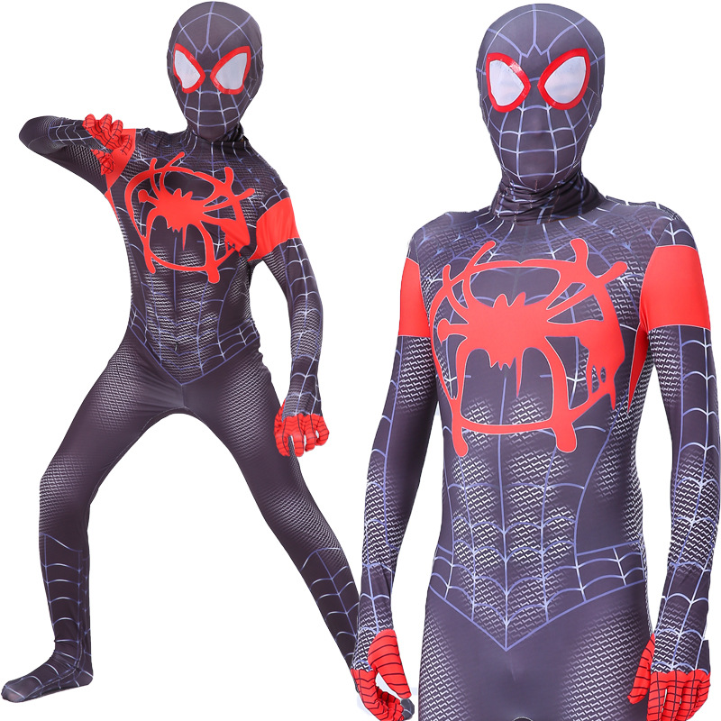 Black Spiderman Costume Into the Spider Verse Miles Morales 3D Print Spider-man Cosplay Costumes Adult Kids Spiderman 2 Suit