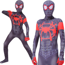 Black Spiderman Costume Into the Spider Verse Miles Morales 3D Print Spider-man Cosplay Costumes Adult Kids 2 Suit
