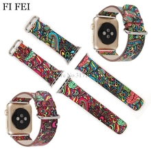FI FEI For Apple Watch 38mm 42mm PU Leather Band Strap Series 1/2/3 Flower Prints Vintage Floral National Folk Style Design Belt