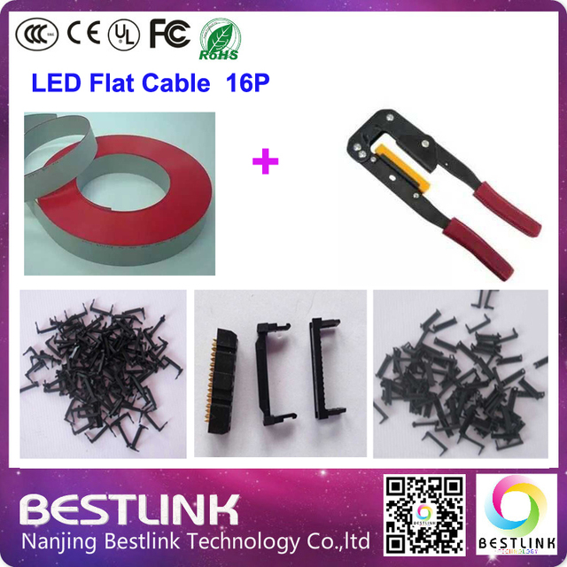 led flat cable 76m length Row plier 1pcs Cable indenter 200pcs a set led flat cable led display screen diy kits electronic sign