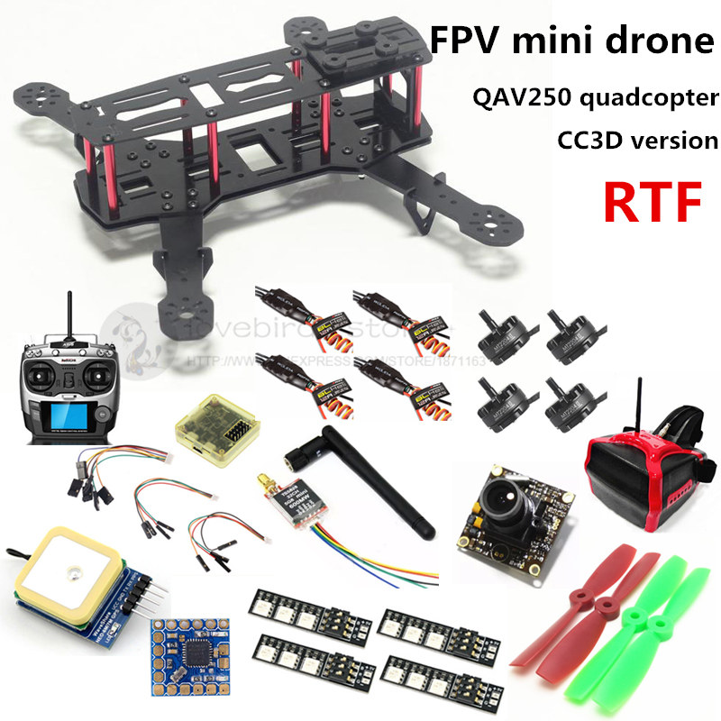 DIY mini drone FPV QAV250 cross racing quadcopter RTF CC3D + 2204II 2300KV motor + AT9 remote control + 700TVL camera + 6m GPS