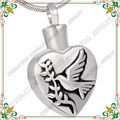CMJ8235 Animal Mascota Urna de Cremación Joyería recuerdos conmemorativos Corazón cenizas colgante con 50 cm collar de pájaro de la paz