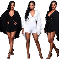 2106 New Women Fashion Sexy Deep V Cloak Slim Pants Shorts Two Color Vintage Rompers High
