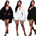 2106 new Women Fashion Sexy deep V Cloak Slim pants shorts two-color Vintage Rompers High Waist Siamese S3072