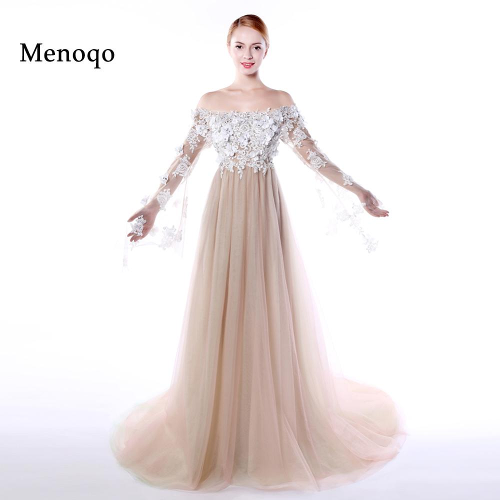 Menoqo Sexy Evening Dress Off the shoulder See Though Long Sleeves Pregnant Women Flowers Empire Evening