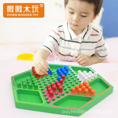Desktop interactive high-grade wood environmentally friendly water-based paint color wooden hexagonal checkers puzzle chess game environmentally friendly pvc inflatable shell water floating row of a variety of swimming pearl shell swimming ring