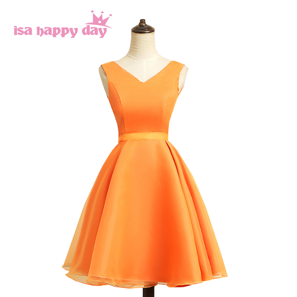 472be017b51 women short sexy orange color v neck prom dress night dresses 2019 new  arrival ball gown under 100 for special occasions H4120