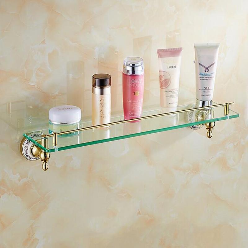 Luxury Golden Single Tier Bathroom Glass Shelf Wall Mounted Bath Shower Cosmetic Storage Rack цена