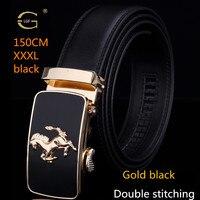 LGF Horse Design Automatic RATCHET AGIO Buckle Cowhide Leather Belt Men 110cm 150cm Luxury Belts For