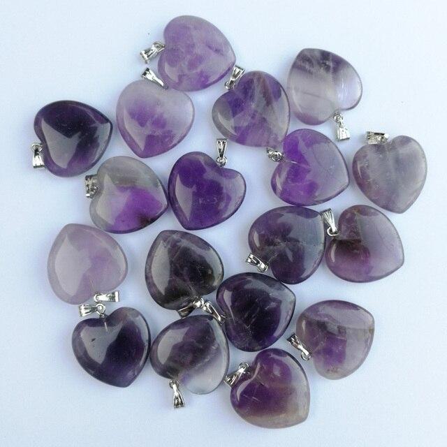 Fashion Good quality Purple crystal 20mm heart Natural stone pendants Charm Jewelry Love pendant for jewelry making 50Pcs/lot