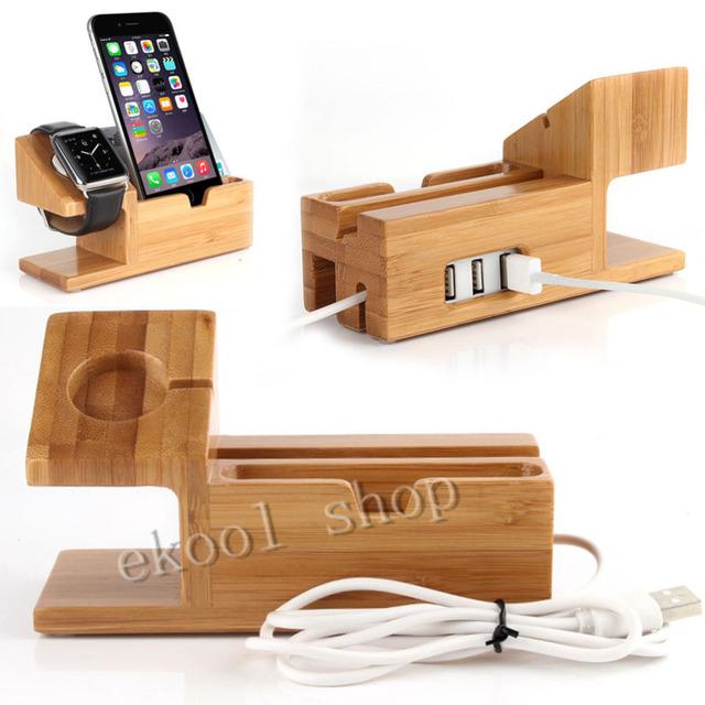 Estación de Carga Del Muelle Del Cargador de Escritorio de Bambú genuino Sostenedor Del Soporte para Apple reloj para iphone 6 6 s y más con 3 puertos usb