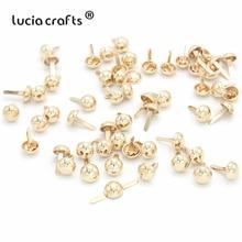 Lucia crafts, 50 шт./лот, 10 мм, розовое золото, Круглый/ковш, для скрапбукинга, украшение, застежка, Brads, сделай сам, металлические принадлежности для рукоделия, G0915