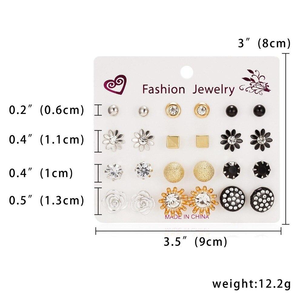 12 Pairs/set Stud Earrings Set With Card Transparent Zircon Balls Love Flowers Earrings Women Imulated Pearl Earrings Jewelry 31