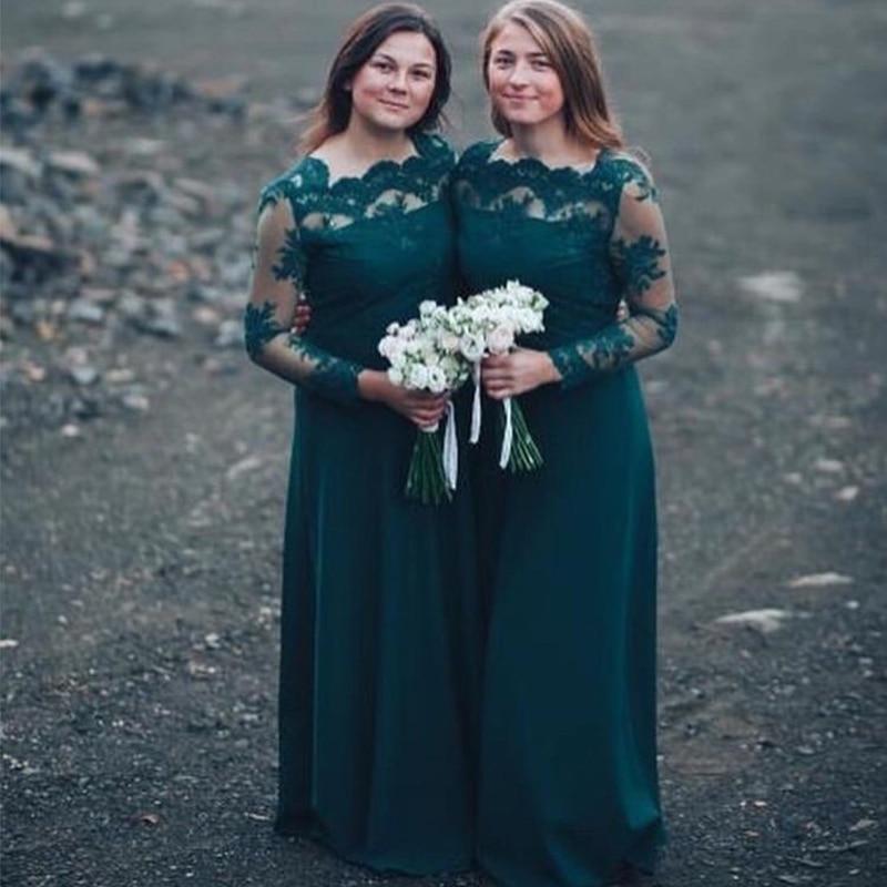 Illusion manches longues robes De demoiselle d'honneur vert foncé dentelle robe De soirée formelle robe a-ligne robe De demoiselle d'honneur