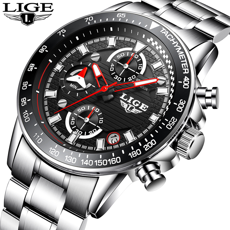 LIGE Luxury Brand Watches Men Fashion Sport Military Quartz Watch Men Full Steel Business Waterproof Clock Man Relogio Masculino top brand luxury watch men full stainless steel military sport watches waterproof quartz clock man wrist watch relogio masculino