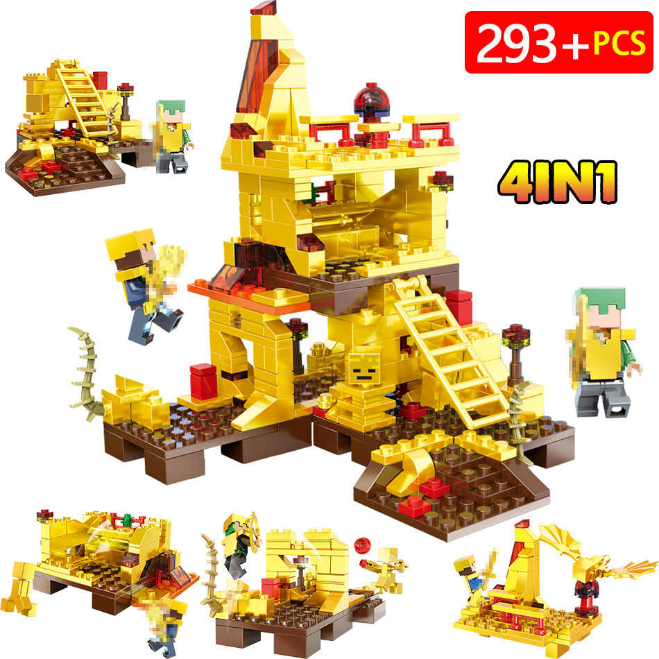MY World Technic Golden Dragon Building Blocks Compatible LegoINGLYS Minecrafter Golden World Eductional Kit Children Toy 293PCS