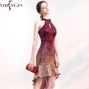 Image 4 - Yidingzs Halter Elegant Sequin Prom Dress Korte Front Lange Back Sparkle Avond Party Dress YD661