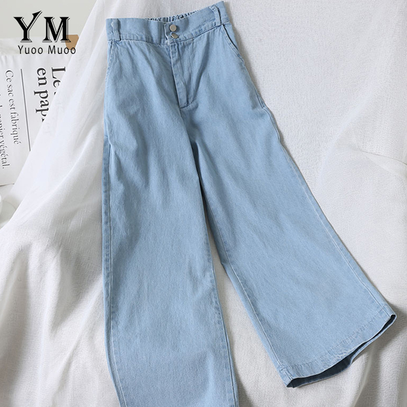 YuooMuoo Vintage Blue   Jeans   Women 2019 Summer Fashion High Waist Wide Leg   Jeans   Pants Casual Loose Mom   Jeans   White Denim   Jeans