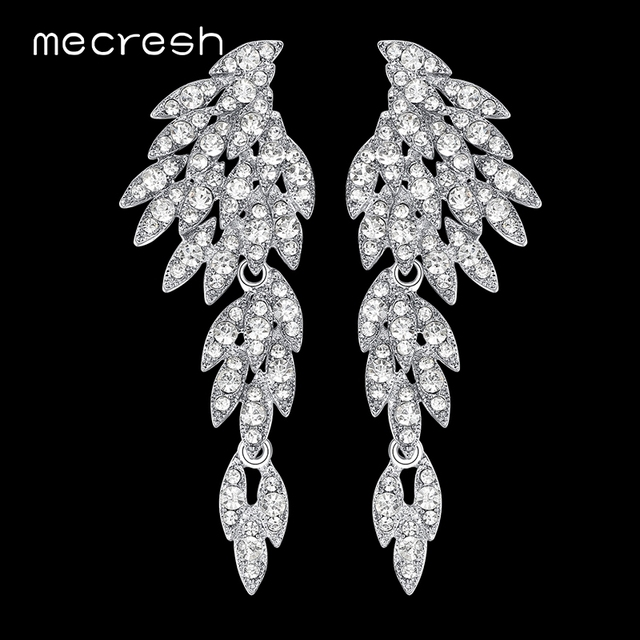 Mecresh 5 Colors Crystal Long Earrings For Women Eagle Silver Black Color Bridal Wedding