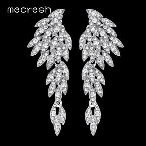Mecresh Silver Color Crystal Wedding Drop Earrings for Women Korean Eagle Animal Bridal Earrings Female Fashion Jewelry EH209