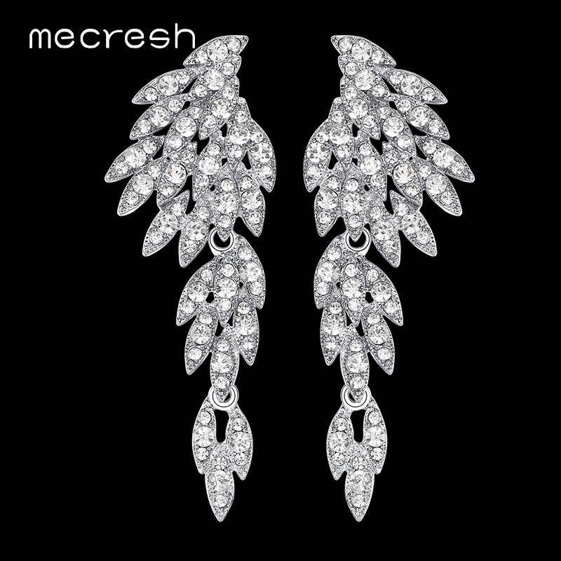 Mecresh Silver Color Crystal Wedding Earrings for Women Korean Eagle Animal Bridal Earrings Female Fashion Jewelry 2018 EH209