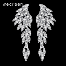 Mecresh Silver Color Crystal Wedding Earrings for Women Korean Eagle Animal Bridal Earrings Female Fashion Jewelry
