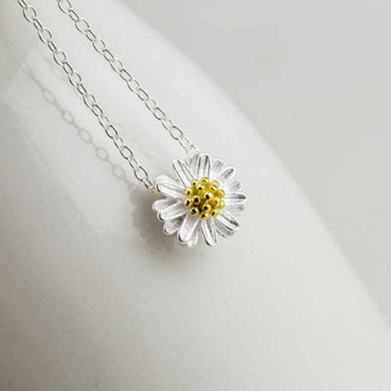 925 Sterling Silver Pendants&Necklaces Daisy Necklace Jewelry Collar Colar de Plata 2017 New Free Shipping Wedding Birthday Gift