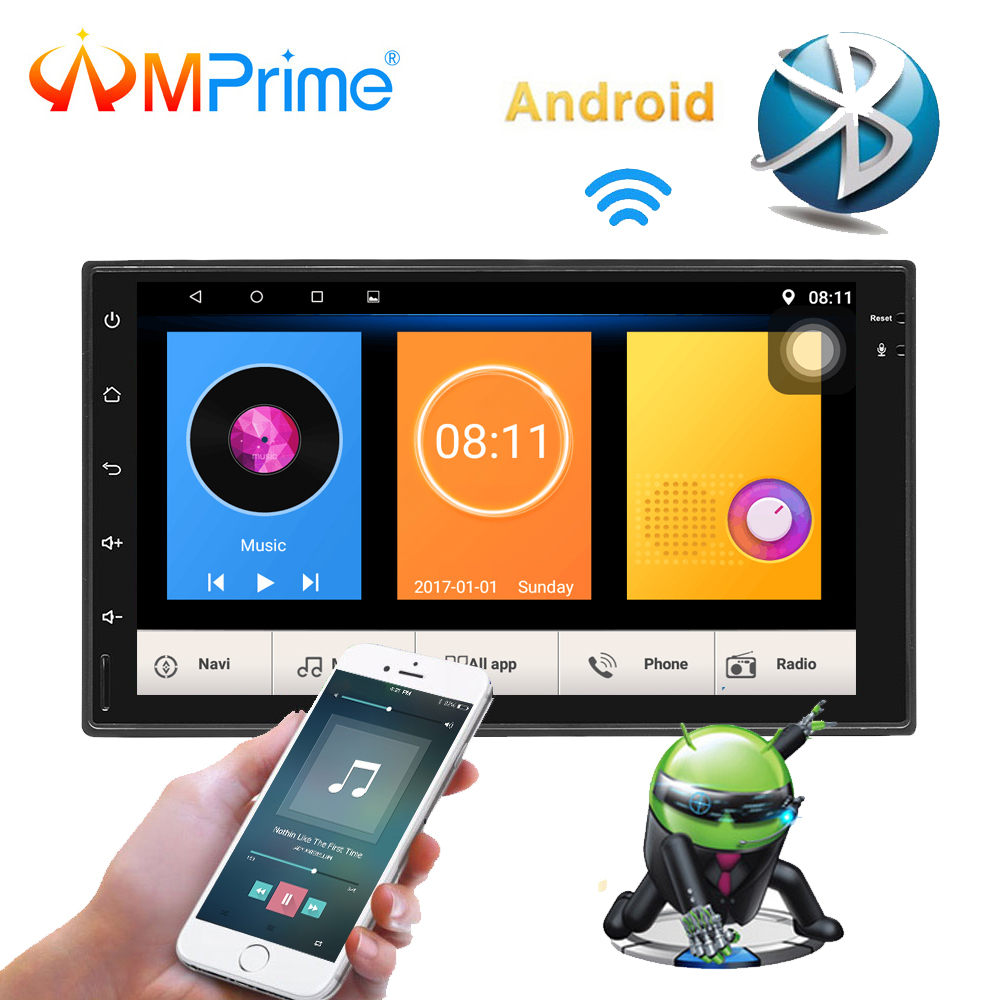 AMPrime Android 7'' Autoradio 2 Din Car Radio Multimedia Player GPS Navigation Touch Screen MP5 Audio Stereo Bluetooth USB/AUX amprime android 2 din 7 hd car radio touch screen autoradio gps navigation multimedia mp5 player support wifi bluetooth usb fm